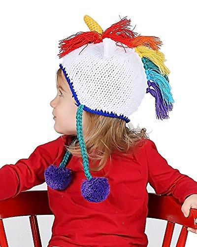 Huggalugs Baby and Toddler Girl Boy Rainbow Bright Unicorn Beanie Hat Small -