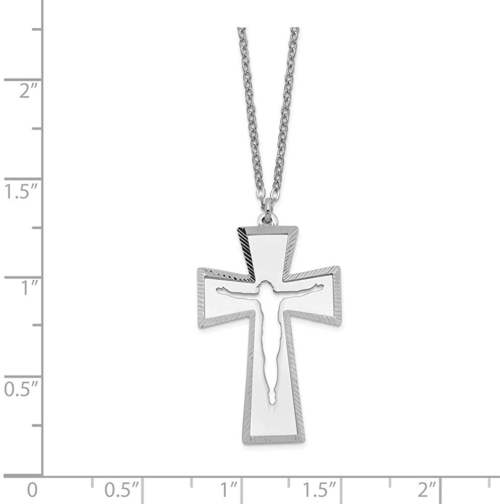 925 Sterling Silver 2 Piece Crucifix Cross Religious Chain Necklace Pendant Charm Fine Jewelry Gifts For Women For Her