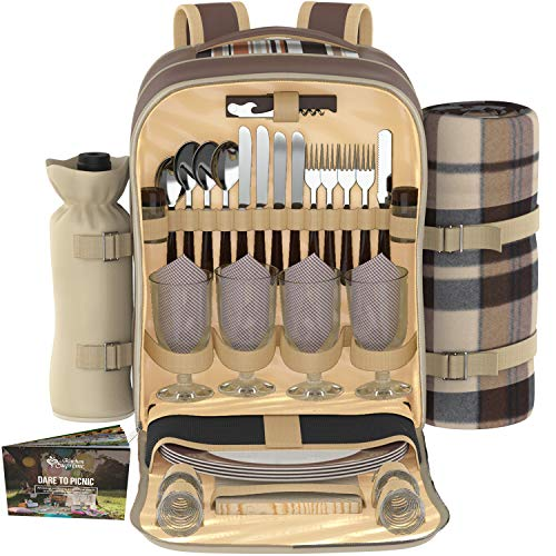 (Kitchen Supreme Picnic Backpack Set for 4 | Luxury Gift Collection | Basket Bag with Large Insulated Cooler Compartment, Waterproof Fleece Blanket & Detachable Wine Holder)