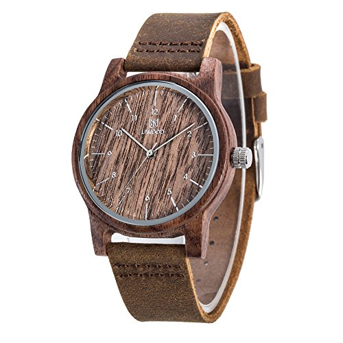 Uwood Men's Wooden Watch Handmade Classic Wooden Quartz Movement Casual Wrist Watch with Cowhide Leather,Christmas Gift (C)