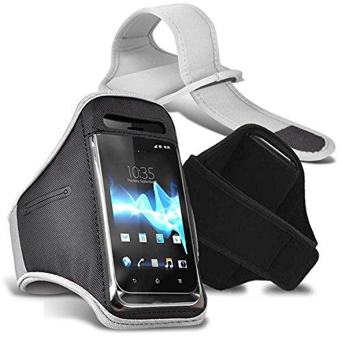 Vodafone Smart speed 6 Armbänder Hülle Cover mit verstellbarem Klettverschluss zum Sport, im Fitnessstudio, beim Joggen, Laufen, Fahrradfahren, Radfahren Schutz - Grün / Green - Von Gadget Giant® Weiß / White Armbänder