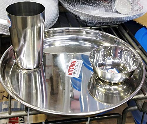 Kitchen Essentials Scintillating Mirror Shine Stainless Steel Set of Thali, Glass and Bowl Each  Silver