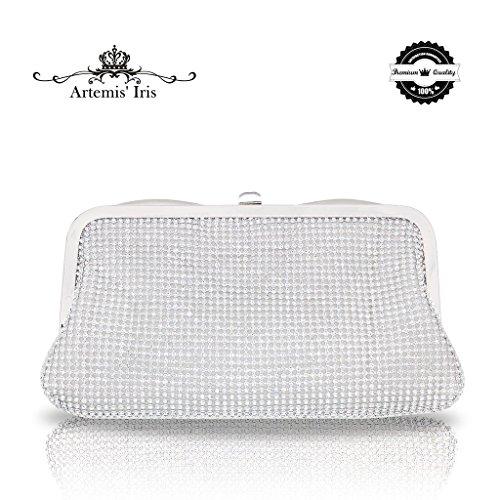 Artemis'Iris Múltiples Funciones Bolso Diamante 2 bolsos doblados con una bolsa interior para tarjetas Silver