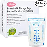 60 Breast Milk Storage Bags - Self Standing, Freezer Safe, Leak Proof Zip Top Closure, Pre Sterilized, BPA Free, Marked Measurements – 7oz – by Unimom