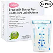 60 Breast Milk Storage Bags - Self Standing, Freezer Safe, Leak Proof Zip Top Closure, Pre Sterilized, BPA Free, Marked Measurements – 7oz – by Unimom