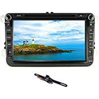 TOCADO Car Stereo with 8 Display, Double 2 Din GPS Navigation In Dash Car DVD Player with Bluetooth GPS Navi CD for 2007-2015 VW Volkswagen JETTA PASSAT Golf Skoda + Backup Camera+ MAP