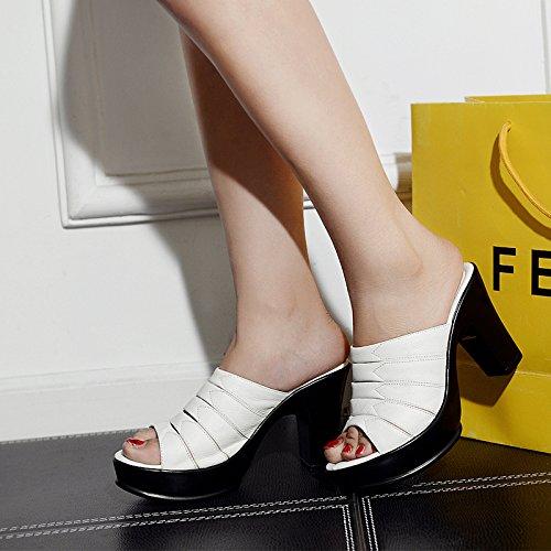 Noir AWXJX été Tongs Femme Chaussures Talon Haut imperméable Fond épais avec Amende 5.5 US 35.5 EU 3 UK