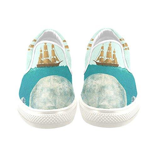 D-histoire Baleine Et Navire Femmes Slip-on Chaussures De Toile De Mode Sneaker