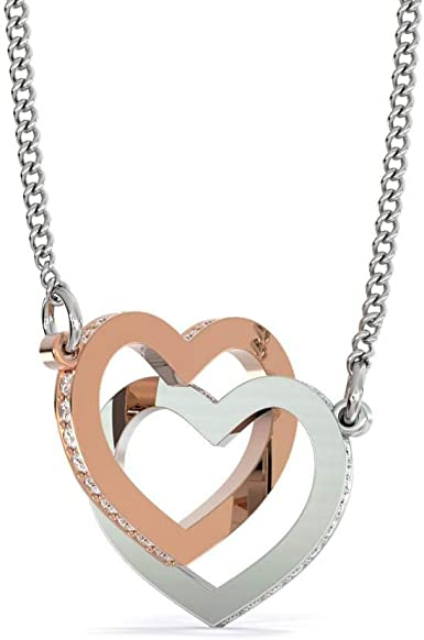Birthday Silver Plated Necklace Gift For Mom Family Gift for Mom Interlocking Heart With Message Card Mom Heart Necklace From Daughter