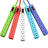 KMC 6-Outlet Surge Protector Power Strip 5-Pack, 245 Joule, Overload Protection, 1.5-Foot Cord, ETL Listed