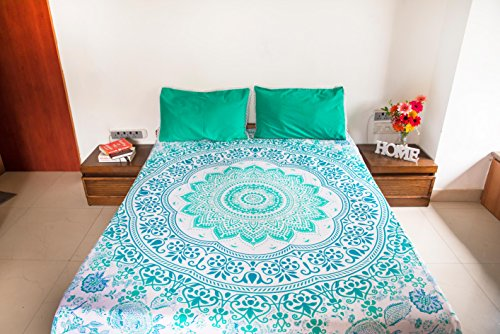 Majestic Mint Mandala Tapestry Bedding with Pillow Covers, Bohemian Hippie Wall Hanging, Picnic Blanket or Beach Throw, Indian Hippy Mandala Bedspread for Bedroom Decor, Queen Size Teal Boho Tapestry ()