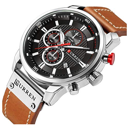 (Men Sport Chronograph Quartz Watch Brown Leather Strap Date 30M Waterproof Military Male Wrist Watch (Silver & Black))