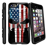 Rugged Phone Case for iPhone 7 Plus | iPhone 7s Plus Advanced layer Cover [Clip Armor] Shockproof iPhone 7 Plus Case w/ Holster and Kickstand - American Flag Skull