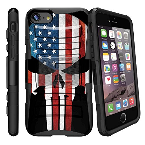 MINITURTLE Compatible with iPhone 7 Plus | iPhone 7s Plus Advanced Layer Cover [Clip Armor] Shockproof Case w/Holster and Stand - American Flag Skull
