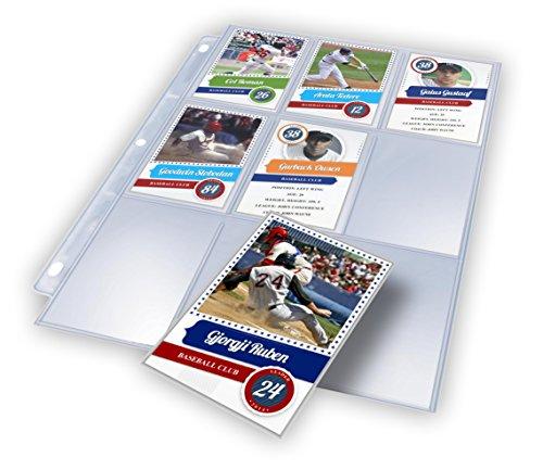 """50 Premium 9 Pocket Baseball Card Sleeves Holder & Pocket Page Protector Sheets - Trading Card 8.5"""" X 11"""" Storage, Plastic Page Protector Sleeves for 3 Ring Binder Album"""