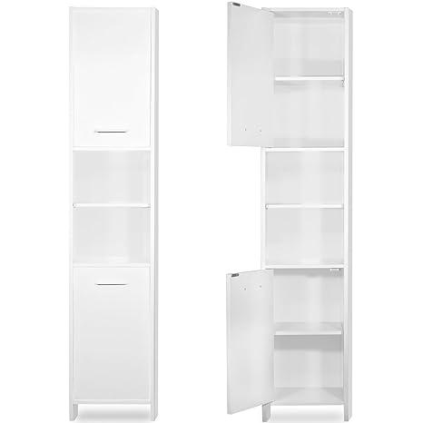 Tall Bathroom Cabinet Cupboard White Large Storage Shelf Home Bath ...