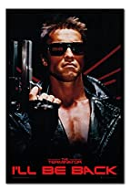 The Terminator I'll Be Back Poster Magnetic Notice Board Black Framed - 96.5 x 66 cms (Approx 38 x 26 inches)