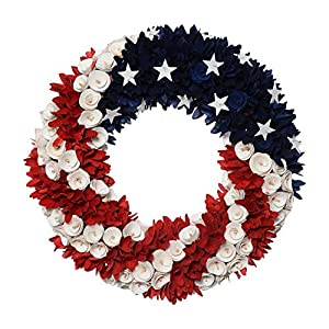 DE 19 Inch Wood Curled Roses Patriotic Wreath in Red, White & Blue - Front Door Wreath 73