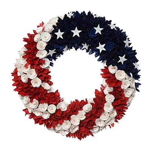DE 19 Inch Wood Curled Roses Patriotic Wreath in Red, White & Blue - Front Door ()