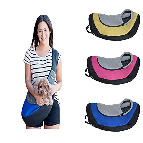 Ondoing Small Dog Cat Sling Carrier Bag Travel Tote Soft Comfortable Puppy Kitty Rabbit Shoulder Carry Tote Handbag, Blue For Sale
