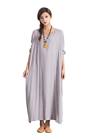 04533bd5c49 Sellse Women s Linen Cotton Maxi Dress Loose Caftan Plus Size Clothing