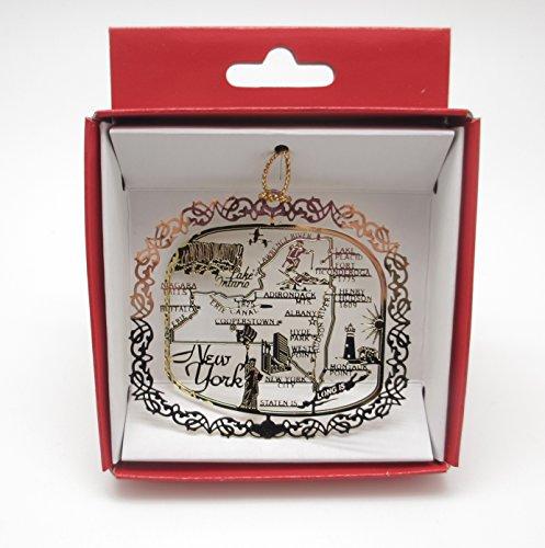 New York State Brass Christmas ORNAMENT Souvenir Gift -