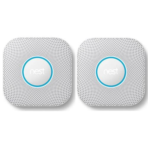 Nest Protect 2nd Gen Battery-Powered Smoke and Carbon Monoxide Alarm, White - 2-Pack