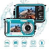 Waterproof Camera Full HD 1080P,Underwater Digital Camera 24.0MP for Snorkeling 2.7 Inch TFT-LCD Video Recorder Camera-Dual Screen Selfie Camera (Blue)