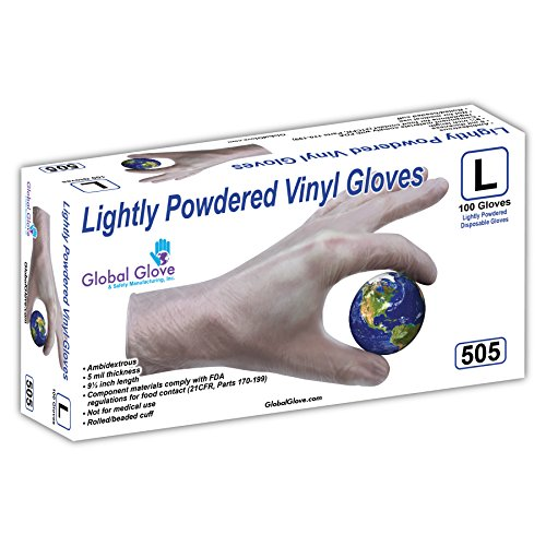 (Global Glove 505 Lightly Vinyl Glove, Disposable, Powdered, 5 mils Thick, Medium, Clear (Case of 1000))