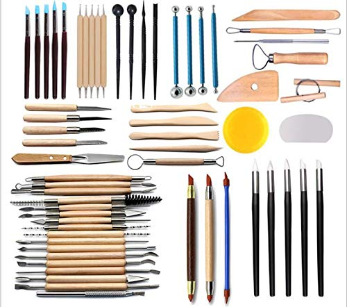 51pcs Clay Sculpting Tools Pottery Carving Tool Set Pottery & Ceramics Wooden Handle Modeling Clay Tools by PRO (Image #1)