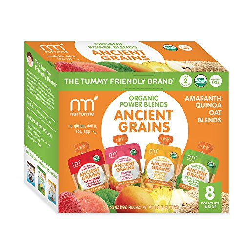 NurturMe Power Blends Organic Baby Food Pouch, Ancient Grains Variety Pack, 3.5 Ounce (Pack of 8)