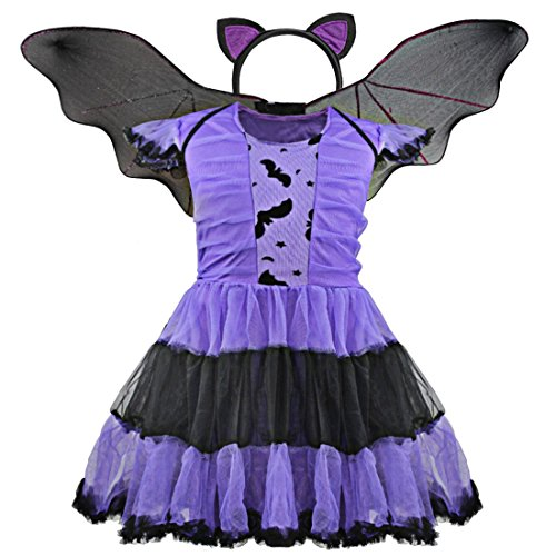 [YiZYiF Girls' Halloween Christmas Costume Bat Princess Dress Wings with Headband (4-5)] (Gothic Ballerina Halloween Costumes)