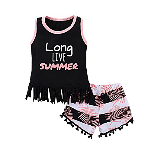 New Girls Summer Clothes - Mikrdoo Toddler Girl Summer Clothes Vest Tops Tassels Shorts 2pcs Baby Girl Outfit Suit (18-24 Months, B)
