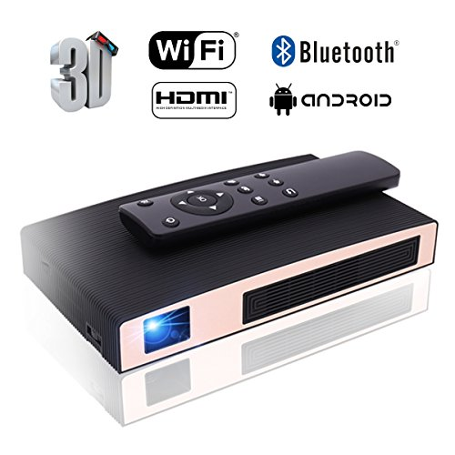 Mini Projector(2018 Upgraded+80lumens) MOTOU DLP Portable LED Projector HD 8400mAh Rechargeable battery Supports iPhone/Android Multimedia outdoor for party/business/home