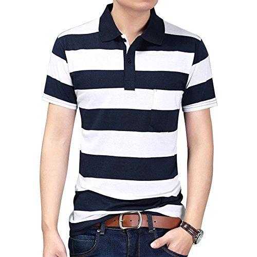 Wishere Mens Polo Shirt Multi Color Fashion Striped Long-sleeved T-shirt