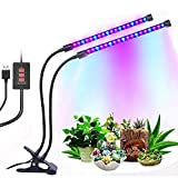 12W Dual Head Timing Grow Lamp, 36 LED Chips with Red/Blue Spectrum for Indoor Plants, Adjustable Gooseneck, 3/6/12H Timer, 5 Dimmable Levels for potted plants, flowering plants, foliage, and succulen Review