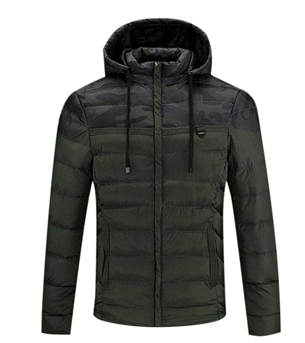WSPLYSPJY Mens Winter Warm Down Coat with Hooded Down Parka Puffer Jacket
