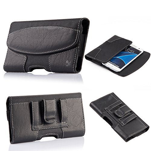 iPhone 8 Plus iPhone XS Max Belt Case, kiwitatá Horizontal Premium Leather Cell Phone Belt Clip Pouch Cover Holster Pouch Case for iPhone 7 Plus 6S Plus 6 Plus XR(Fits iPhone with a Thin Case)