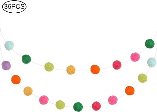 Colorful Wool Felt Pom Pom Ball String Hanging Ornament Kids Room Home Decor