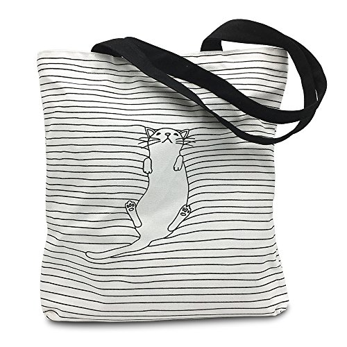 Mziart Cute Cat Striped Canvas Tote Shoulder Bag Stylish Shopping Casual Bag Foldaway Travel Bag Trendy Canvas Tote