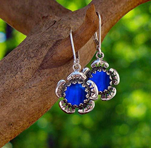 Flower Leverback Earrings - Recycled Vintage 1960's Cobalt Skin Cream Jar Sterling Silver Flower Leverback Earrings