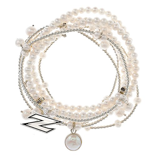 Akron Zips 7 Strand Freshwater Pearl and Silver Bracelet by College Jewelry