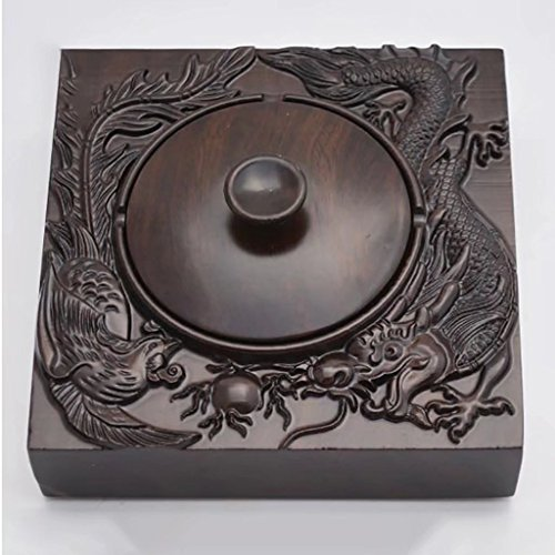 High Grade Solid Wood Ashtray With Black Rosewood Retro Fashion Creative Smoke Cylinder Business Gift Dragon - Square Fashion Phoenix