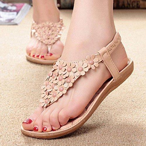del Zapatos dulces de las dedo Bohemia playa sandalias verano del del Tongshi las sandalias de clip pie moldeados de Caqui de w7xXTS4Fqd