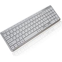Bluebyte Multi-device Universal Wireless Bluetooth 4.0 LE Keyboard with Comfortable Chiclet Key, Full Size Bluetooth Ultra-Slim Wireless Keyboard for Mac, Windows PC,Phone and Tablet.(White).