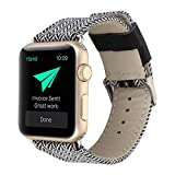 Kobwa 38MM/42MM Watch Band for Apple Watch, Fashion Genuine Leather Watch Band Denim Fabric Replacement Watchband Watch Strap For Iwatch Series 1 Series 2