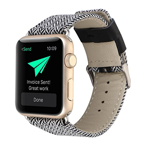 Price comparison product image Kobwa 38MM/42MM Watch Band for Apple Watch, Fashion Genuine Leather Watch Band Denim Fabric Replacement Watchband Watch Strap For Iwatch Series 1 Series 2