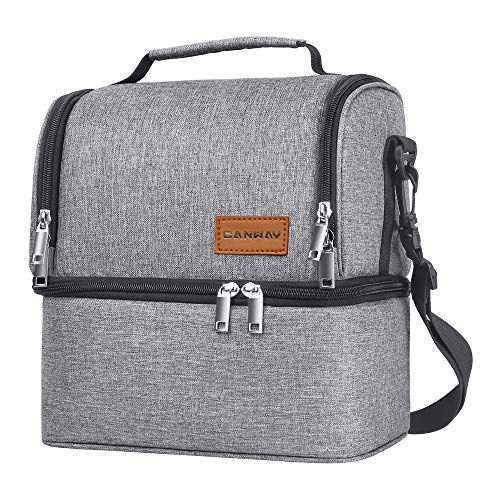 Insulated Lunch Bag, Dual Compartment Lunch Tote Box Leak-proof Bento Organizer, Double Deck Cooler for Men, Women,for Office/Picnic/Travel/Camping - Insulated Tote Box Lunch