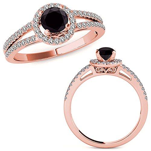 1.07 Carat Black Diamond Love Design Beautiful Halo Anniversary Promise Women Band Ring 14K Rose Gold ()