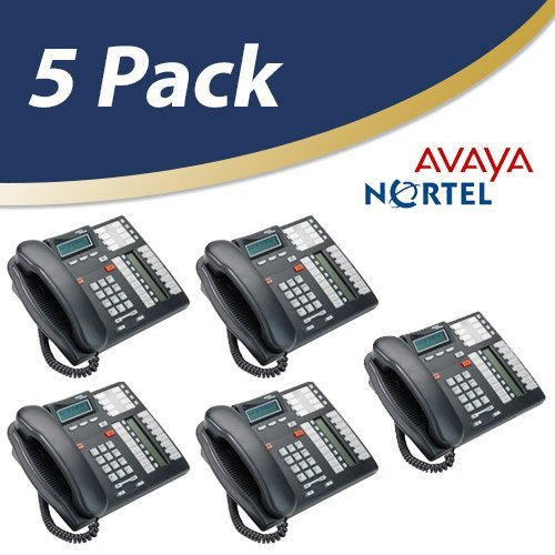 System T7316e Phone - Nortel Norstar Telephone, Charcoal, 5 Pack (T7316e) (Renewed)